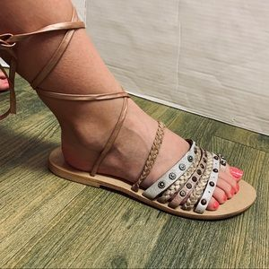 Lucky Metallic Studded Straps Ankle Tie Sandal 8.5